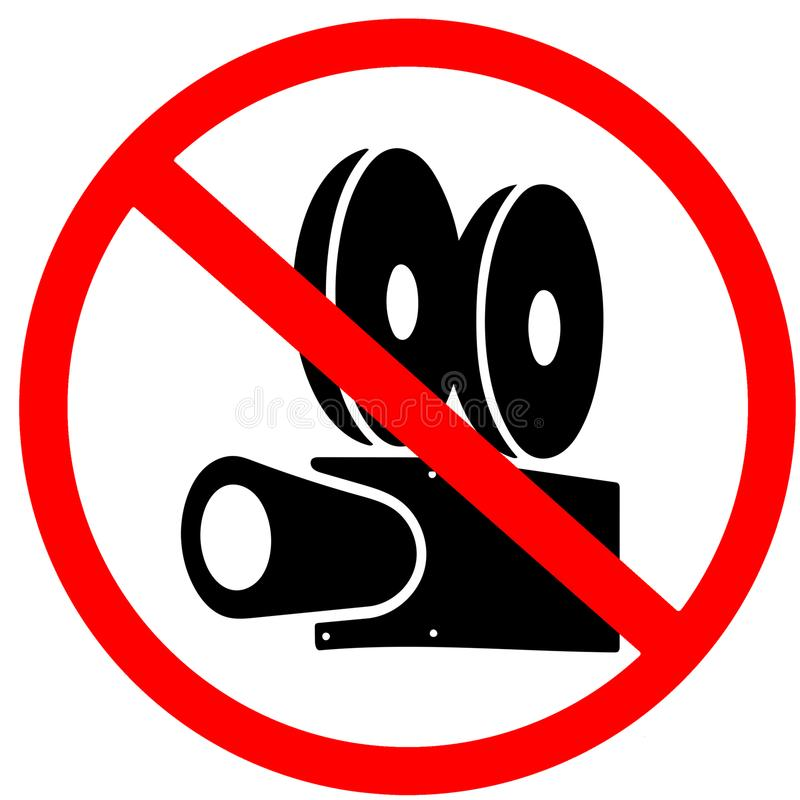 Video tv camera forbidden red circle road sign prohibition isolated on white background vector illustration