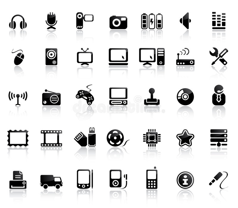 Video und Audioikonen-Set lizenzfreie abbildung
