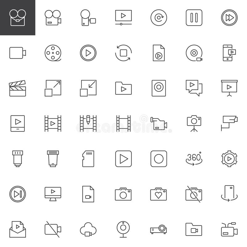 Video universal outline icons set. Linear style symbols collection, line signs pack. vector graphics. Set includes icons as video camera, movie play, replay vector illustration