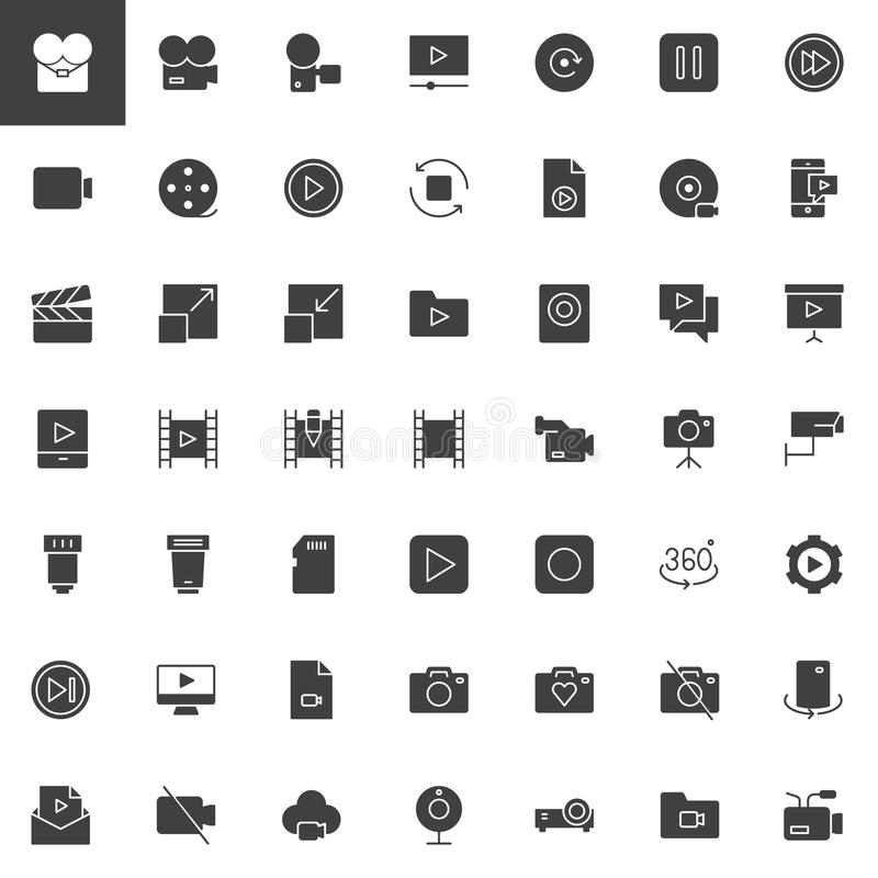 Video universal vector icons set. Modern solid symbol collection, filled style pictogram pack. Signs, logo illustration. Set includes icons as video camera royalty free illustration