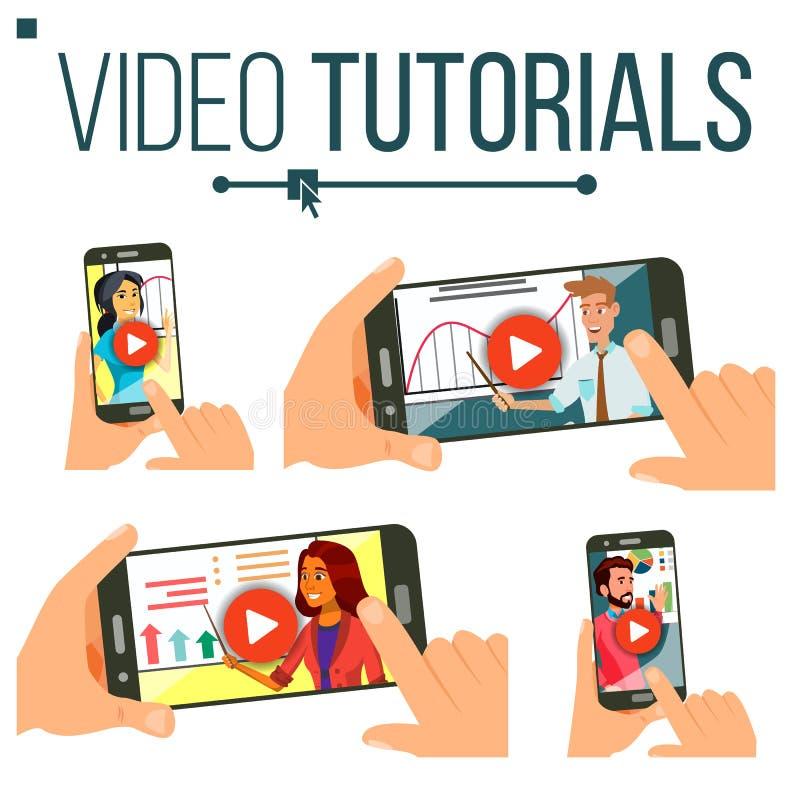 Video Vastgestelde Vector Van een privé-leraar Het stromen video Online Onderwijs Studie en het Leren Achtergrond Bedrijfs concep vector illustratie