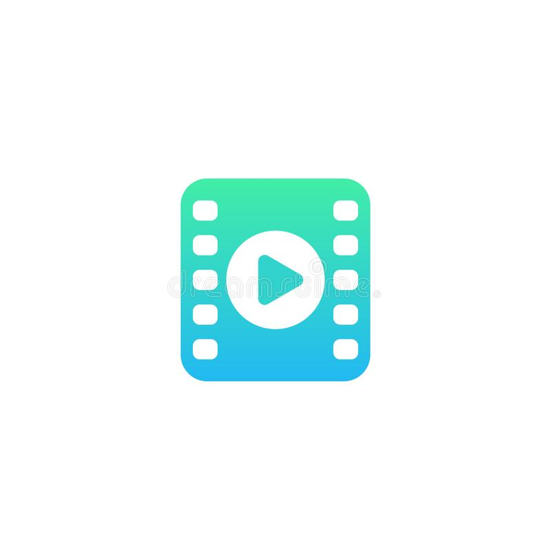 Video icon, logo with play symbol and film strip. Video vector icon, logo with play symbol and film strip, eps 10 file, easy to edit vector illustration
