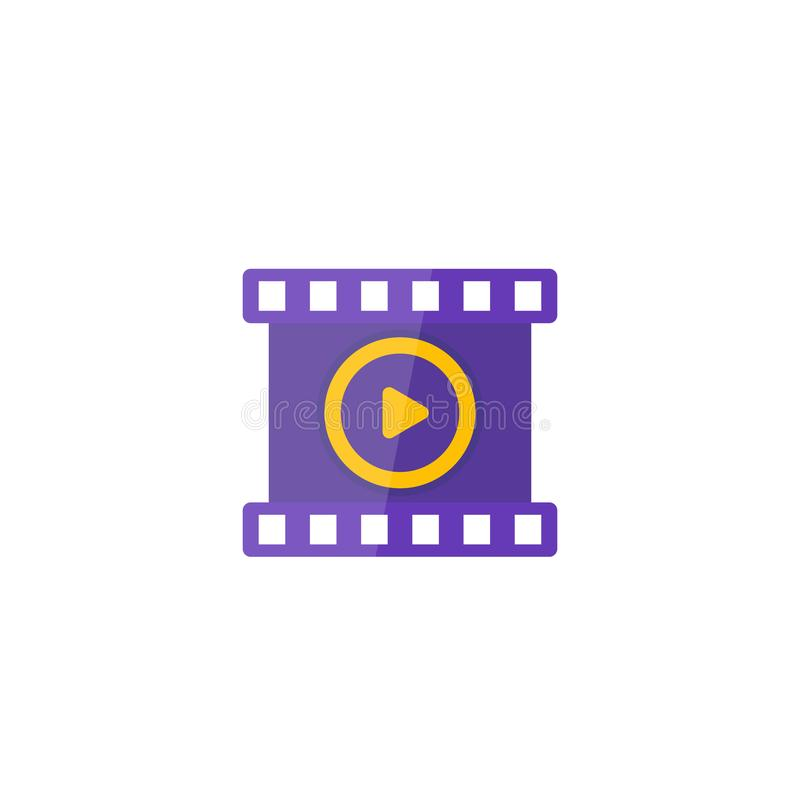 Video vector icon, play symbol and film strip. Eps 10 file, easy to edit royalty free illustration
