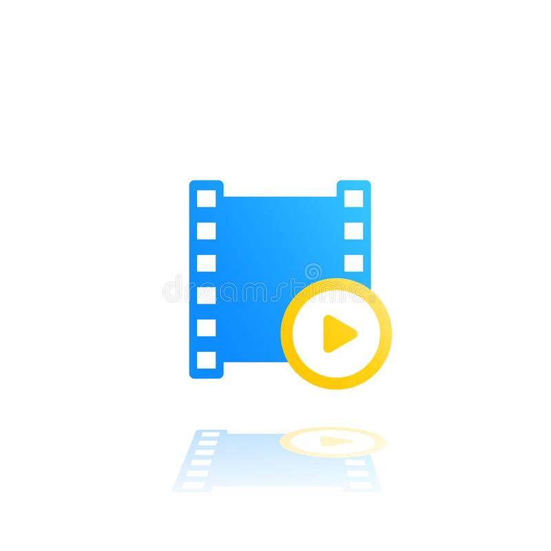 Video vector logo with play symbol and film strip. On white, eps 10 file, easy to edit royalty free illustration
