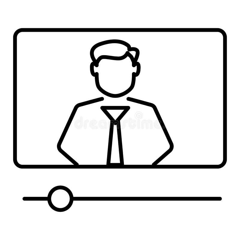 Video vectordielijnpictogram van een privé-leraar op witte achtergrond wordt geïsoleerd Laptop met videolijnpictogram van een pri vector illustratie