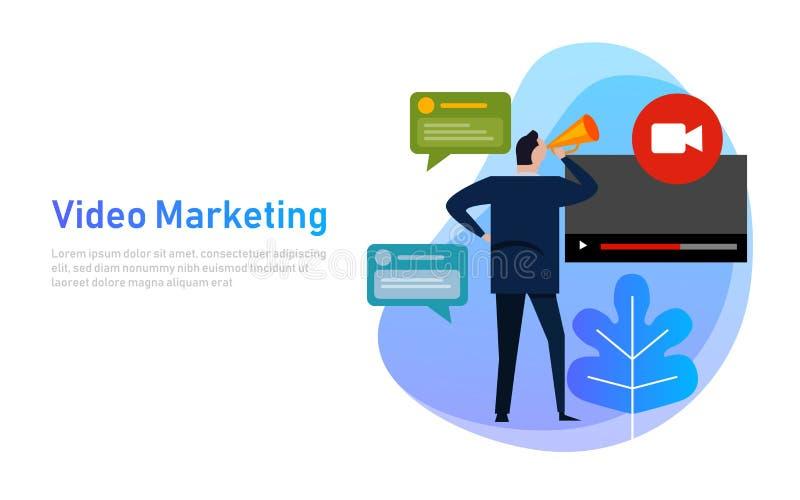 Video vlog för begrepp för marknadsföringslägenhetdesign Affärsmannen framkallar kanalvideoen direktanslutet ha pratstundkonversa vektor illustrationer