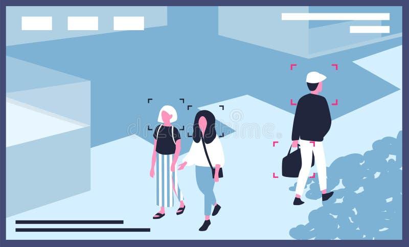 Video von den Überwachungskameras installiert auf Stadtstraße Moderne Überwachungstechnologie eingesetzt für die Überwachung, Ges lizenzfreie abbildung