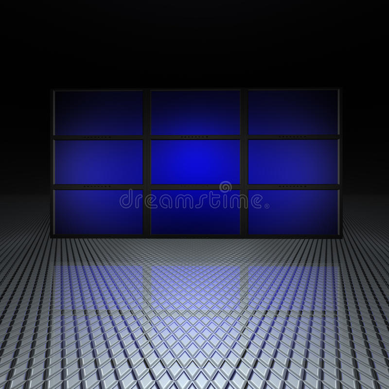 Video wall with blue screens stock illustration