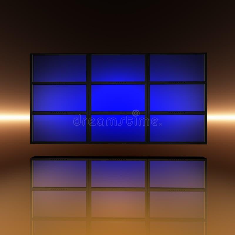 Download Video Wall With Blue Screens Stock Illustration - Illustration of flatscreen, modern: 9571391