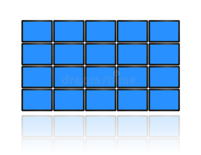 Video wall of flat tv screens royalty free illustration