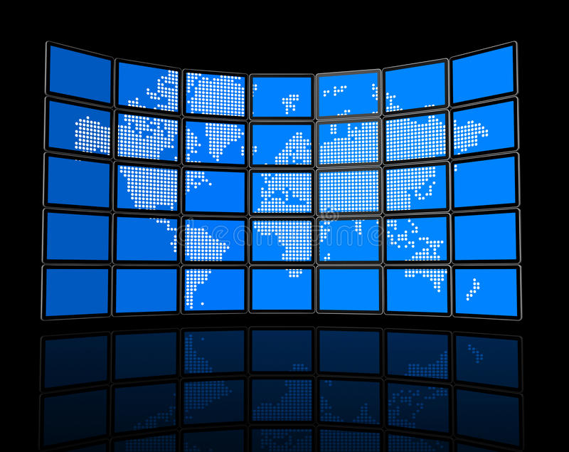 Video wall of flat tv screens with world map royalty free illustration