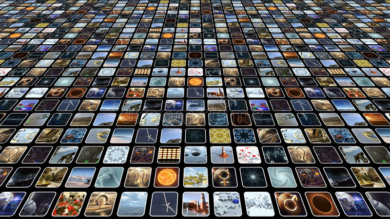 Video wall with many small icons on monitors. 3D rendering stock illustration