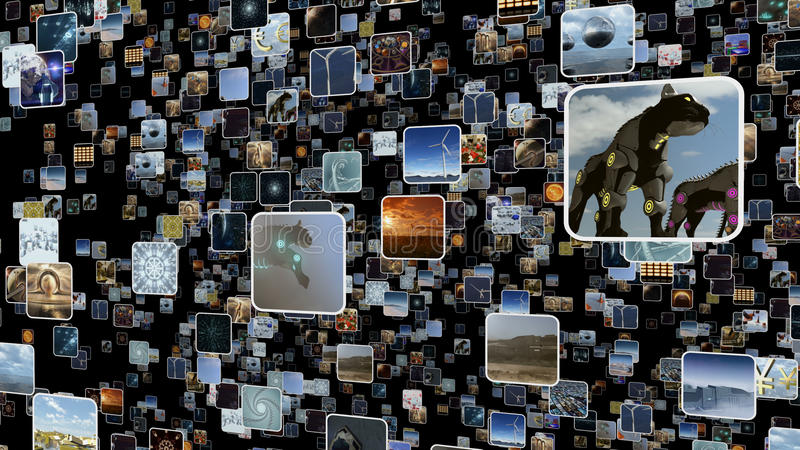 Video wall with many small icons popping up. 3D rendering stock illustration