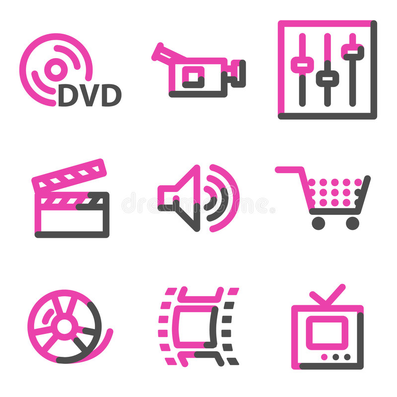 Video web icons, pink contour series vector illustration