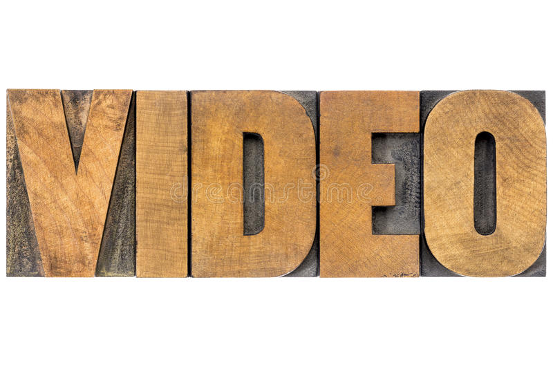 Video word in wood type stock photos