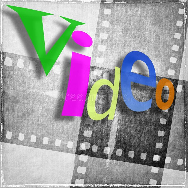 `video` word written in various colors and with random characters. In the background we have vintage film strip in gray tones. `video` word written in various royalty free illustration