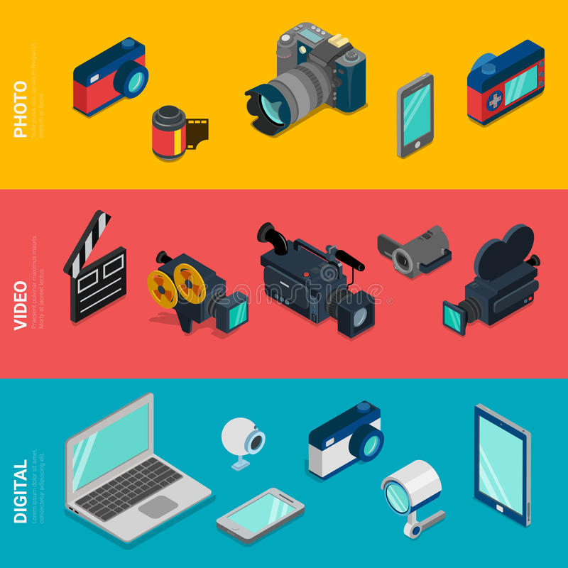 Videoausrüstung des flachen isometrischen Digitalelektronikfotos des Vektors vektor abbildung