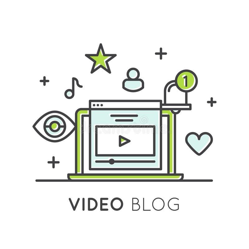 Videoblogging oder on-line-Kanal Vlogging mit Nachfolgern und exklusivem Inhalt vektor abbildung