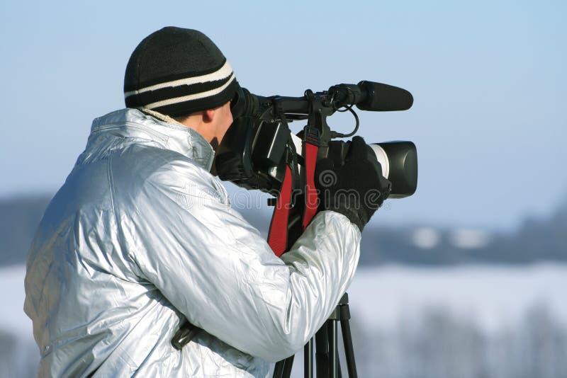 videocamera журналиста стоковое изображение rf