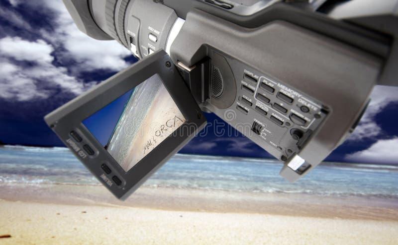 Videocamera bij strand royalty-vrije stock foto's