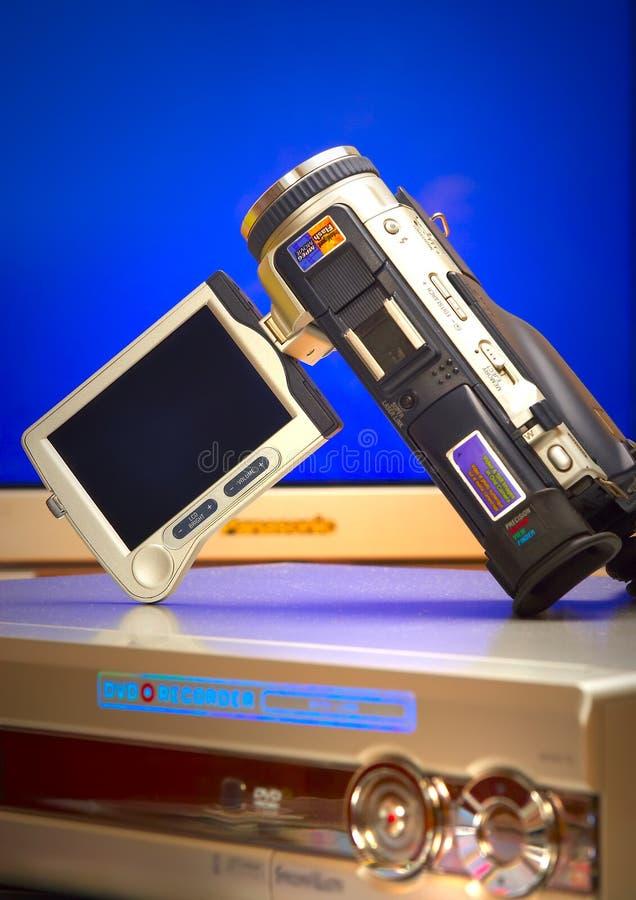 Videocamera con DVD un giocatore fotografie stock
