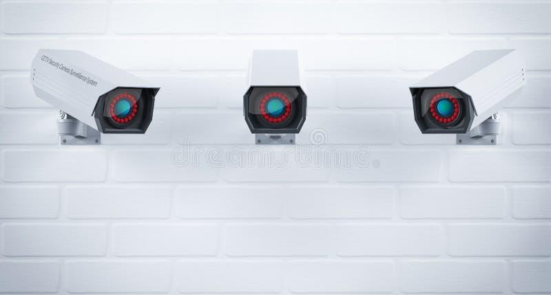 Videocamera di sicurezza del CCTV messa sulla parete Sistema di controllo di sicurezza illustrazione della rappresentazione 3d royalty illustrazione gratis