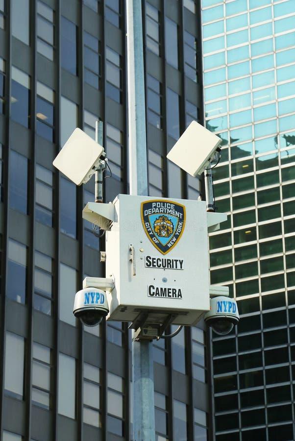 Videocamera di sicurezza di NYPD in Manhattan fotografie stock libere da diritti