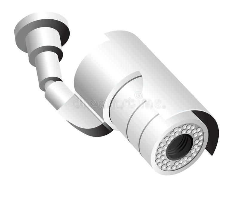 Videocamera di sicurezza isolata su bianco illustrazione - Videocamera di sicurezza ...