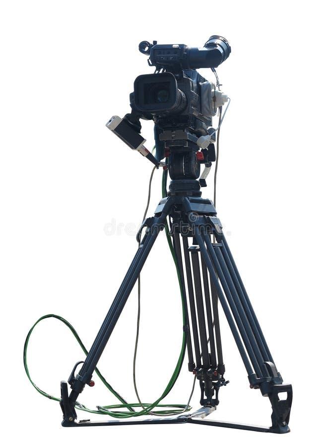 Videocamera digitale dello studio professionale della TV isolata su bianco fotografia stock