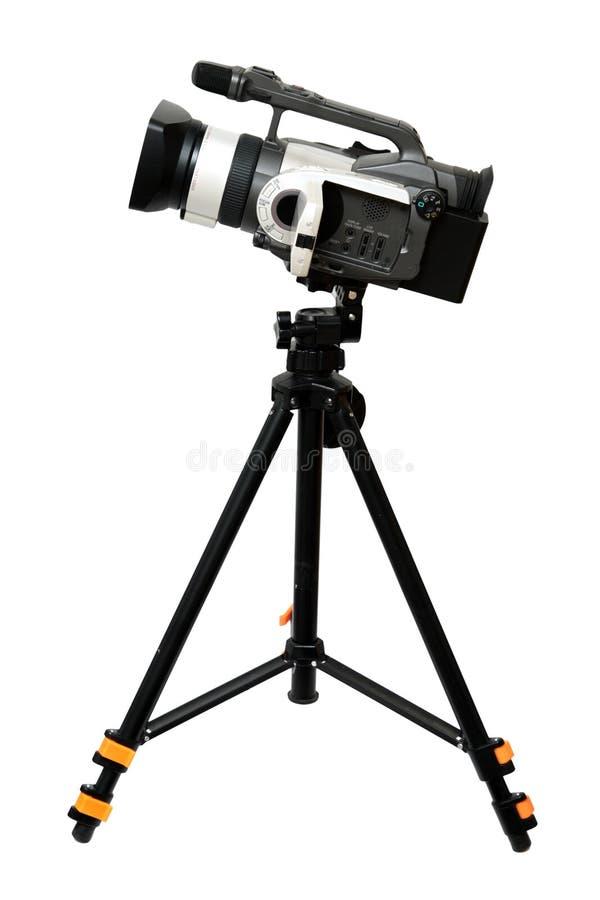 Videocamera op driepoot royalty-vrije stock afbeelding