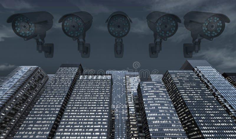 Videocamera spettrale sopra i grattacieli alla notte illustrazione di stock