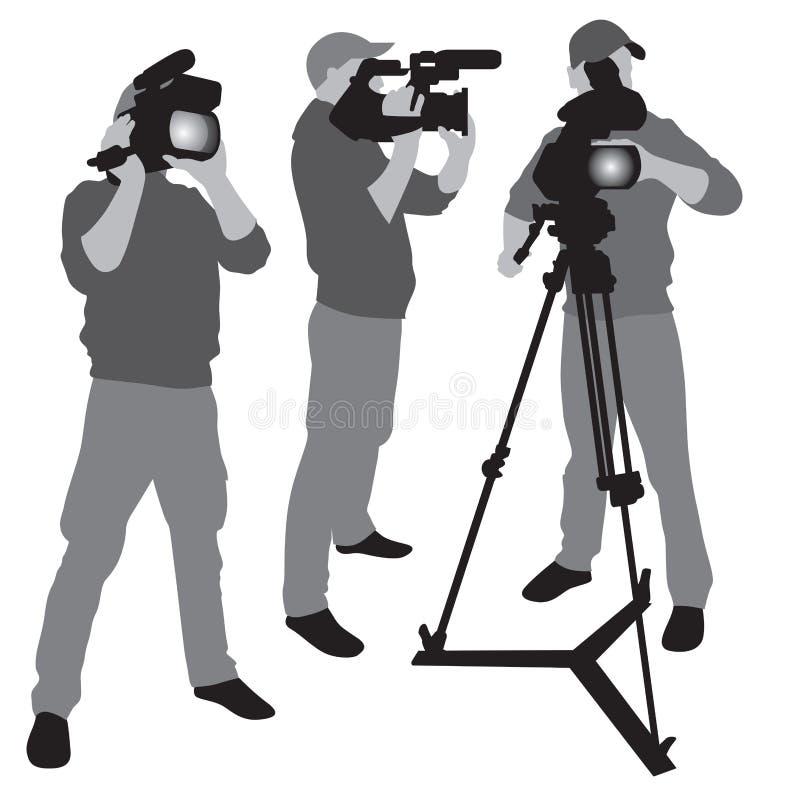 Videocameraexploitant stock illustratie