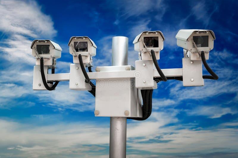 Videocamere di sicurezza del monitoraggio del CCTV immagine stock