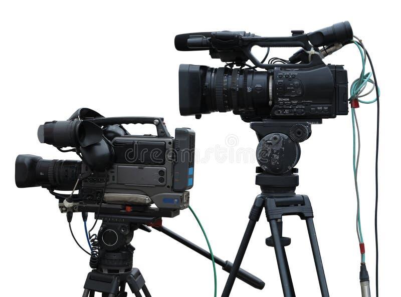 Videocamere digitali dello studio professionale della TV isolate su bianco immagine stock libera da diritti