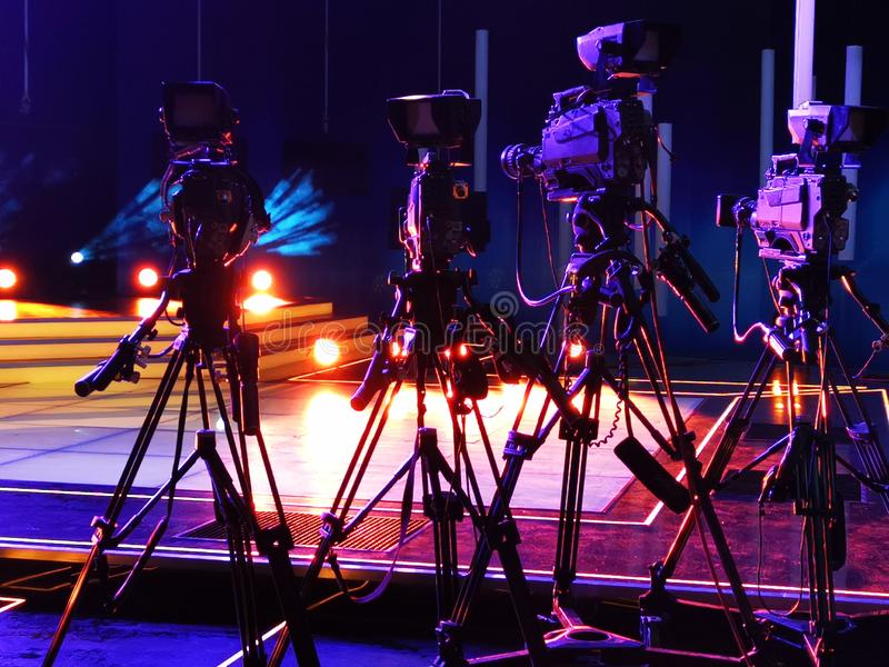 Videocamere nello studio immagine stock