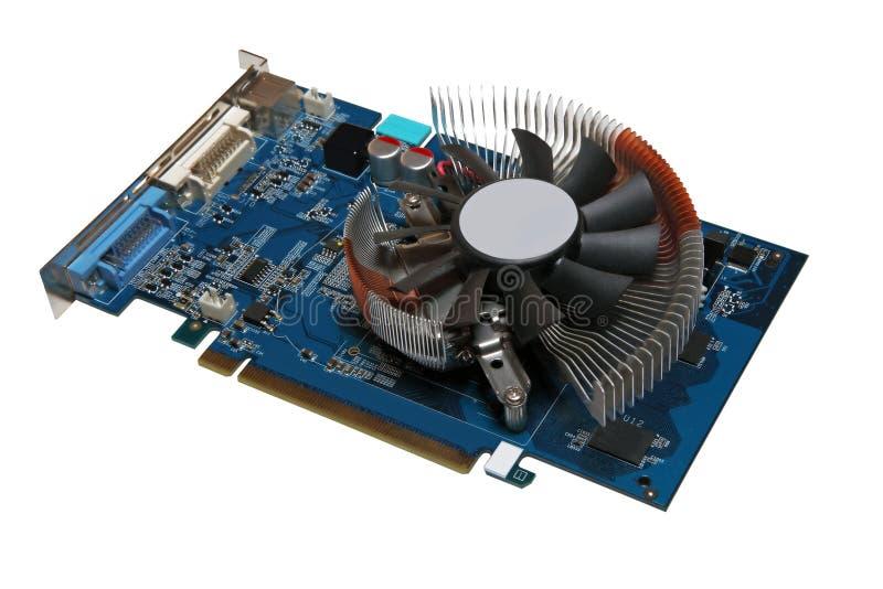 Videocard do computador isolado em um fundo branco. fotos de stock