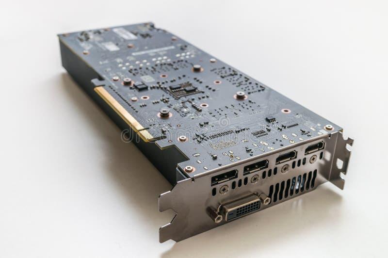 Videocard moderno do computador no fundo branco foto de stock
