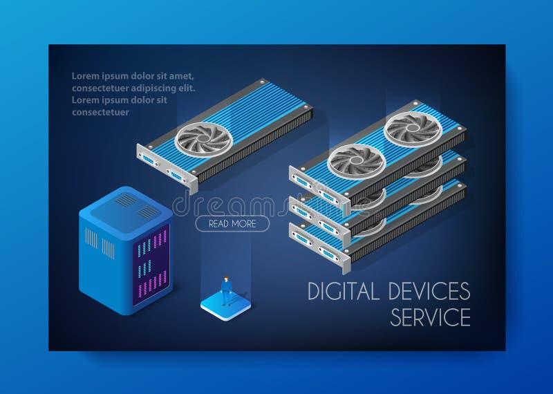 Videocard set of mining bitcoin vector illustration