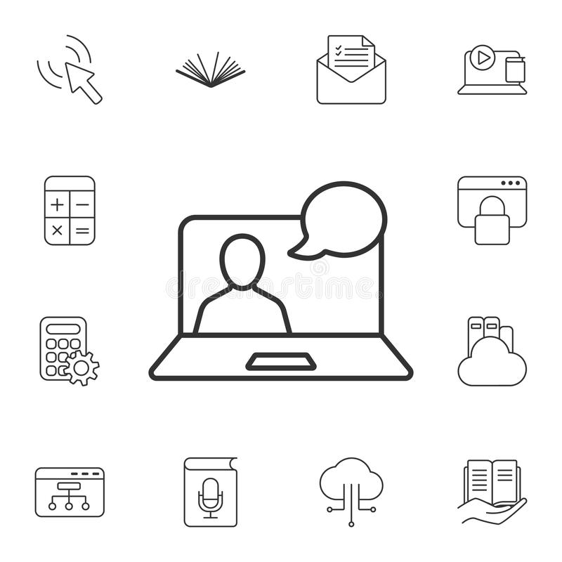 Videochat-on-line-Linie Ikone Einfache Elementillustration Videochat-on-line-Linie Symboldesign vom Ökologiesammlungssatz Kann se lizenzfreie abbildung