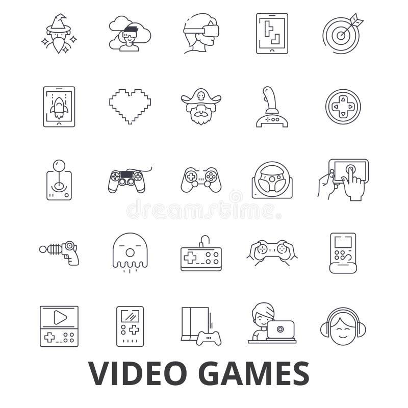 Videocomputerspiele, Prüfer, Spiel, Schirm, Säulengang, Konsole, Steuerknüppellinie Ikonen Editable Anschläge Flaches Design vektor abbildung