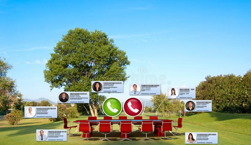 Videoconference on the green royalty free stock photography