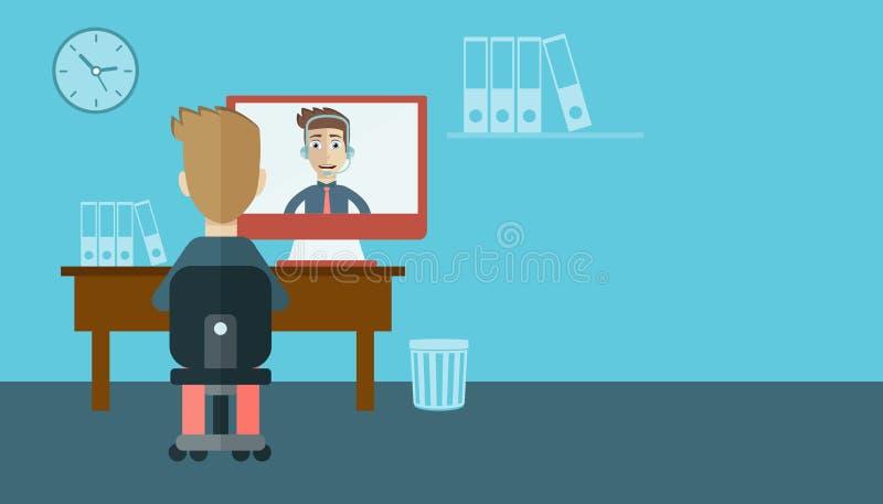 Videoconferencia Comunicación empresarial Vector plano ilustración del vector