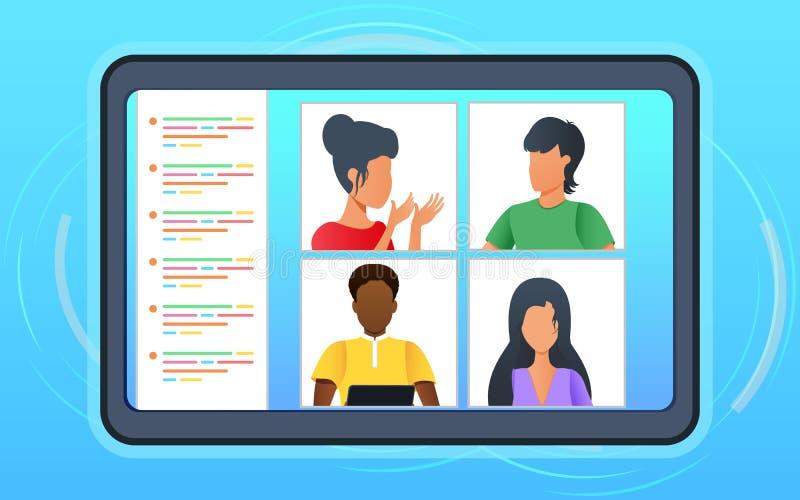 Videoconferencia El equipo de negocios tiene una discusión durante una reunión en línea en videollamada Grupo de personas en la p stock de ilustración