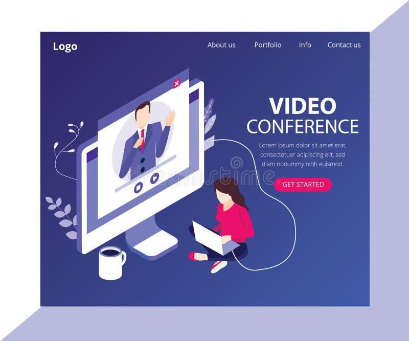 Videoconferentie met een Concept van het cliënt Isometrisch Kunstwerk stock illustratie