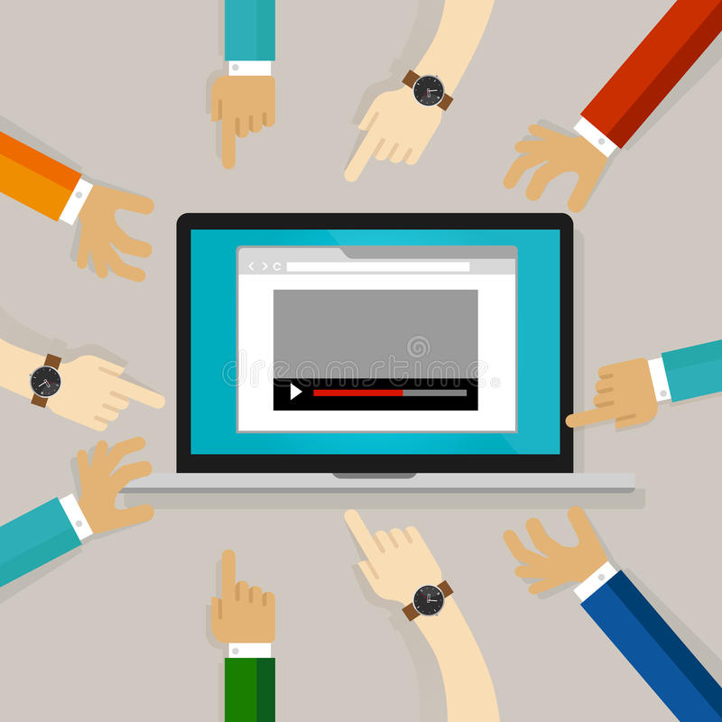 Videoen som håller ögonen på redigera kommentar på internethänder som pekar domaren, granskar vlog stock illustrationer