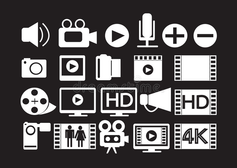Videofilmpictogrammen Van verschillende media royalty-vrije illustratie