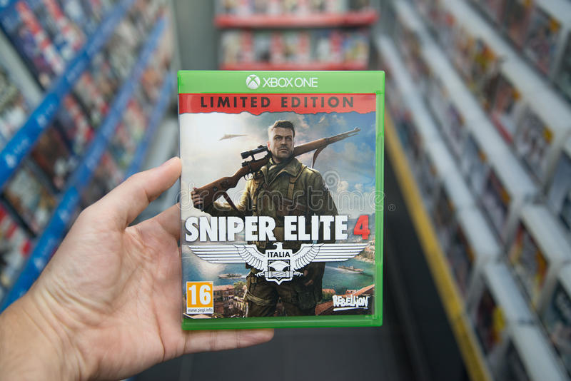 Videogame de Elite 4 do atirador furtivo em XBOX um foto de stock royalty free