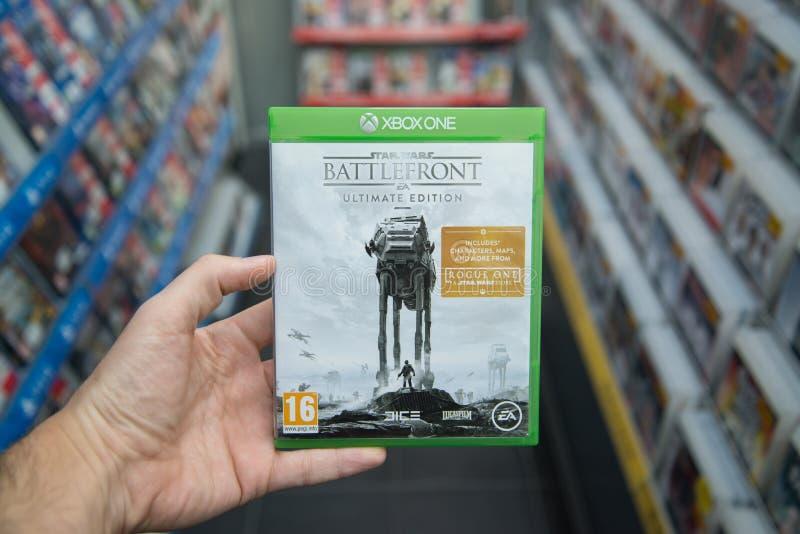 Videogame för upplaga för Star Wars Battlefront ultimat på XBOX en royaltyfri foto