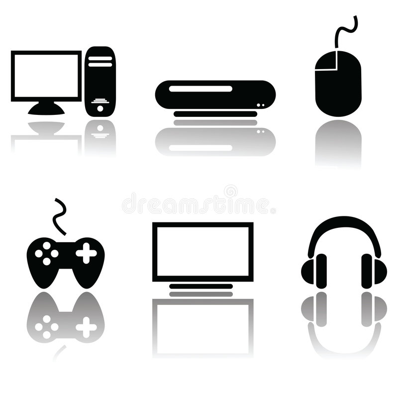 Download Videogame icons stock vector. Image of white, vector, concept - 8778139