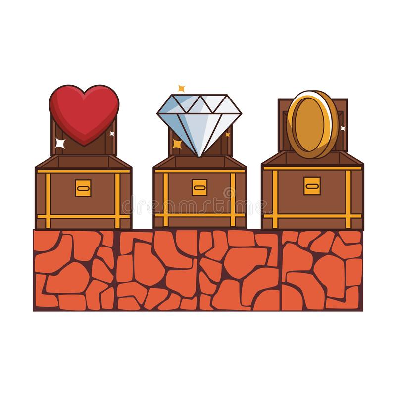 Videogame scenery cartoon. Videogame scenery with chest cartoon vector illustration graphic design vector illustration